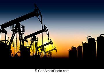 silueta, petróleo bombea
