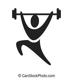 silueta, pictogram, weightlifting, negro, icono
