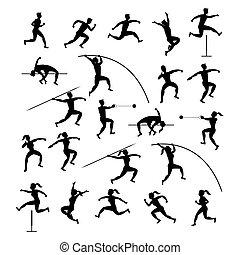 silueta, pista, esportes, atletas, campo, jogo