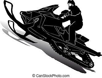 silueta, plano de fondo, blanco, velocidad, motocicleta, motonieve