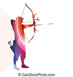 silueta, plano de fondo, hombre, arco, entrenamiento, arquero, colorido, ilustración, concepto