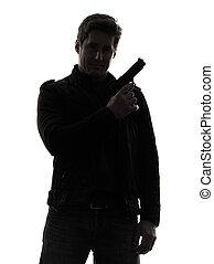 silueta, policial, assassino, arma, segurando, retrato, homem