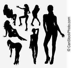 silueta, pose, menina, mulher feminina, excitado