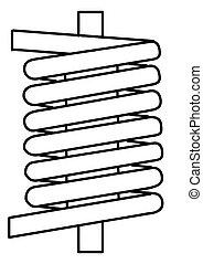 silueta, primavera, ilustração, fundo, vetorial, branca
