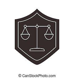 silueta, protector, escala, icono, balance, estilo