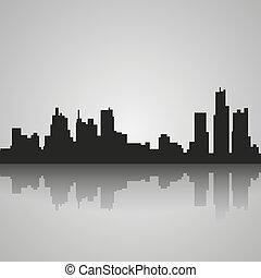 silueta, reflexión., ilustración, vector, negro, detroit