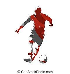 silueta, resumen, jugador, vector, pelota del fútbol