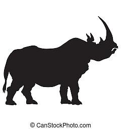 silueta, rinoceronte