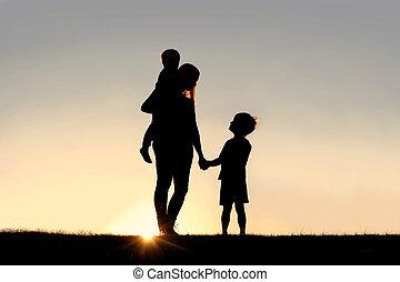 silueta, ruce, mládě, západ slunce, majetek, matka, děti