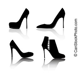 silueta, sapatos, ilustração, vetorial, fundo, branca