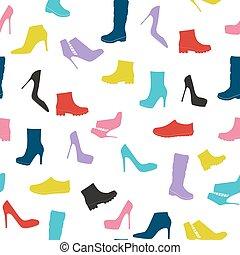 silueta, sapatos, padrão, seamless, ilustração, vetorial, fundo
