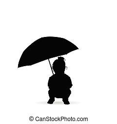 silueta, seizes, segura, guarda-chuva, criança
