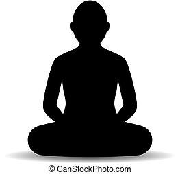 silueta, sentado, vector, icono, persona, meditar