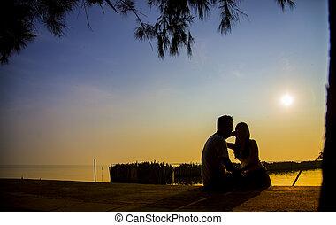 silueta, sentar, junte pôr-do-sol, encantador, scene4