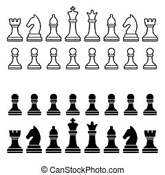 silueta, set., -, pedazos, vector, negro, ajedrez, blanco