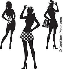 silueta, shopping, mulheres