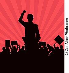silueta, signboard, audiência, fala, fazer, homem