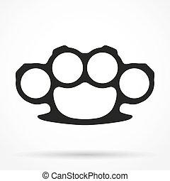 silueta, simple, símbolo, ilustración, brassknuckles, vector