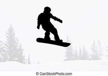 silueta, snowboarder