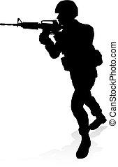 silueta, soldado