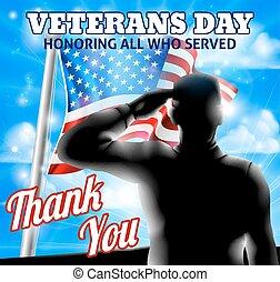 silueta, soldado, saudando, bandeira americana, dia veterans, desenho
