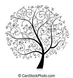silueta, strom, překrásný, design, umění, tvůj, čerň
