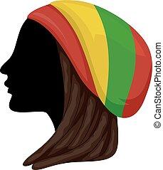 silueta, subcultura, rastafarian, ilustración