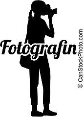 silueta, título, alemão, fotógrafo, trabalho, femininas