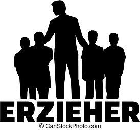 silueta, título, alemão, trabalhador, trabalho, childcare