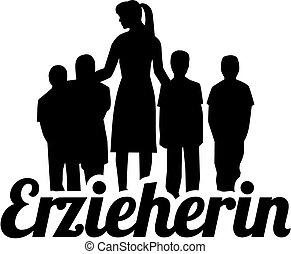 silueta, título, alemão, trabalhador, trabalho, childcare, femininas