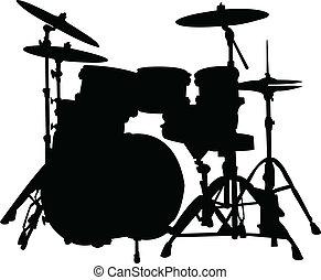 silueta, tambores