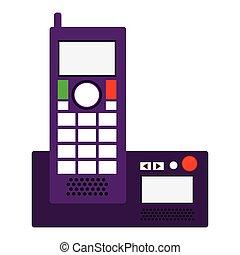 silueta, telefone escritório, com, wired