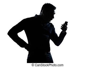 silueta, telefone, homem, retrato, videophone, surpreendido