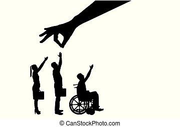 silueta, torcida, pessoas, saudável, cadeira rodas,...