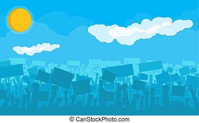 silueta, torcida, revolta, protestar, alegrando, ou