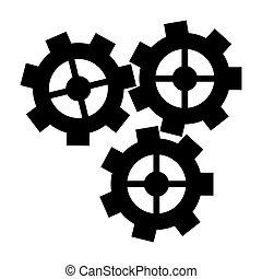 silueta, três, roda engrenagem, motor, dente, ícone