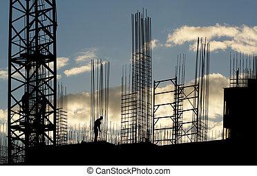 silueta, trabalhador construção
