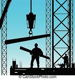 silueta, trabalho, trabalhador, ilustração, vetorial, constuction