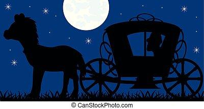 silueta, treinador, tripulação, lua, cavalo, noturna