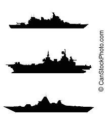 silueta, tres, buque de guerra