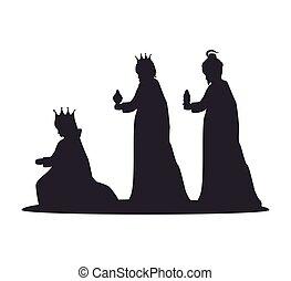 silueta, tres, sabio, reyes, pesebre, diseño, aislado