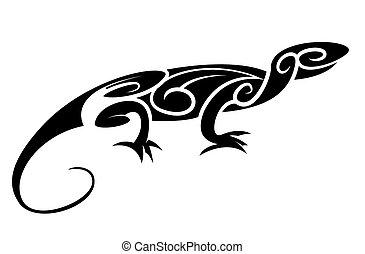 silueta, tribal, lagarto, negro, :, ta