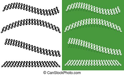 silueta, trilha grade, ilustração, w, estrada ferro, estrada