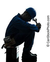 silueta, triste, fracasso, reparar, trabalhador, homem, ...