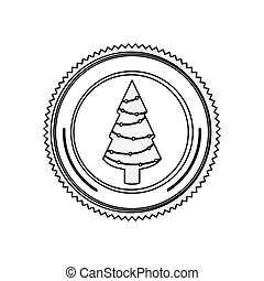 silueta, tronco árvore, borda, natal, circular