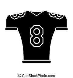 silueta, tshirt, jersey, uniforme norteamericano fútbol