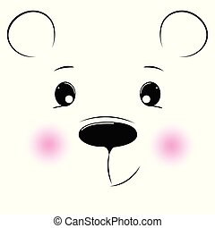 silueta, urso, rosto, fundo, branca, caricatura