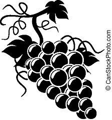 silueta, uvas, ilustración