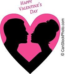 silueta, valentine, par, dia, imagem, feliz