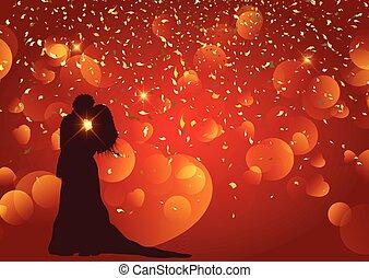 silueta, valentine, par, fundo, dia casamento